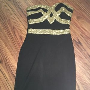 Strapless Gold Detail Dress